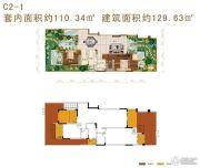 华宇天宫花城2室2厅2卫110平方米户型图