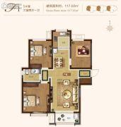 融汇爱都3室2厅1卫117平方米户型图