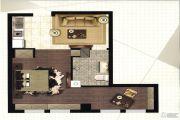 悦尚华都1室1厅1卫60平方米户型图