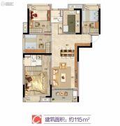 万科城市之光4室2厅2卫115平方米户型图