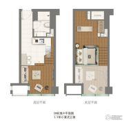 中粮悦天地1室1厅1卫-3平方米户型图