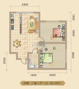 大林兴隆家园2室2厅1卫80平方米户型图