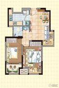 荣盛龙湖半岛2室2厅1卫66平方米户型图