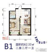 华源温泉度假公寓2室2厅1卫62平方米户型图