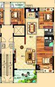 鸿泰华府3室2厅2卫144平方米户型图