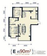 滨洲华府2室2厅1卫90平方米户型图