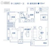 未来花郡3室2厅1卫100平方米户型图