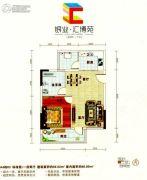 银业・汇博苑1室2厅1卫59平方米户型图