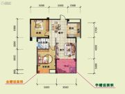 海润百利尊品2室2厅1卫85平方米户型图