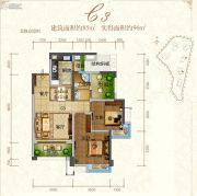 东江首府2室2厅1卫85平方米户型图