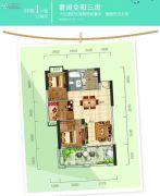 惠州富力湾3室2厅1卫102--105平方米户型图