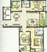 绿都万和城3室2厅2卫132平方米户型图