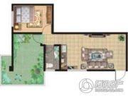祥安东城国际花园1室2厅1卫71平方米户型图