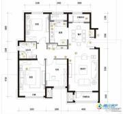 华润橡树湾3室2厅1卫123平方米户型图