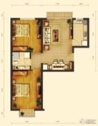 玺源台2室2厅1卫88平方米户型图
