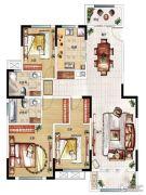 民安北郡3室2厅2卫139平方米户型图