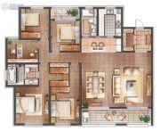 朗诗滨湖绿郡4室2厅2卫200平方米户型图