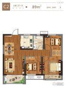 金科城3室2厅1卫89平方米户型图
