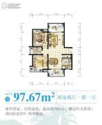 南海之滨2室2厅1卫97平方米户型图