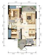宏联・美誉名座2室2厅1卫79平方米户型图