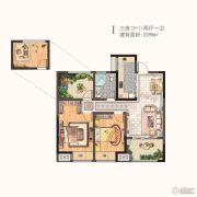 河枫御景3室2厅1卫98平方米户型图