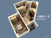 信阳恒大名都1室2厅1卫63平方米户型图