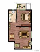 晶彩中心1室1厅1卫62平方米户型图