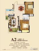 东方今典2室2厅1卫88平方米户型图