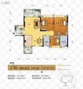 华茵・桂语3室2厅2卫123平方米户型图