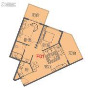 海南富力湾2室2厅1卫100平方米户型图