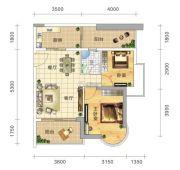 五岭国际2室2厅1卫71平方米户型图