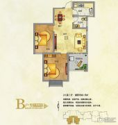 东京国际2室2厅1卫83平方米户型图