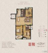 东润首府 高层3室2厅2卫125平方米户型图