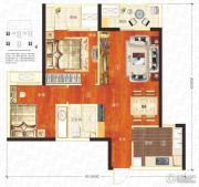万科汉口传奇唐樾2室2厅1卫79平方米户型图