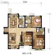 鸿坤・理想尔湾3室2厅1卫125平方米户型图