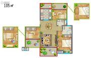 香堤春晓3室2厅1卫105平方米户型图