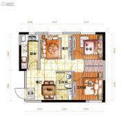 越秀星汇蓝海2室2厅1卫62平方米户型图