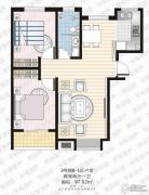 家合园二期2室2厅1卫97平方米户型图