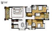泰安・锦绣江南花园4室2厅3卫170平方米户型图