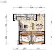 万锦・紫园2室2厅1卫58平方米户型图