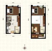 新都汇・二期3室2厅2卫55平方米户型图