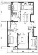 金地悦风华3室1厅2卫130平方米户型图