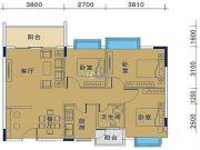 御�Z华庭3室2厅1卫84平方米户型图