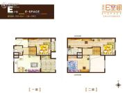 业达E空间3室1厅2卫60--65平方米户型图