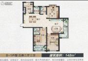 滨河城市经典3室2厅2卫148平方米户型图