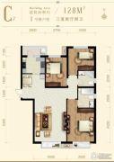 龙山广场3室2厅2卫128平方米户型图
