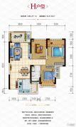 金科时代中心3室2厅1卫87平方米户型图