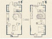 拾光汇2室2厅2卫53平方米户型图