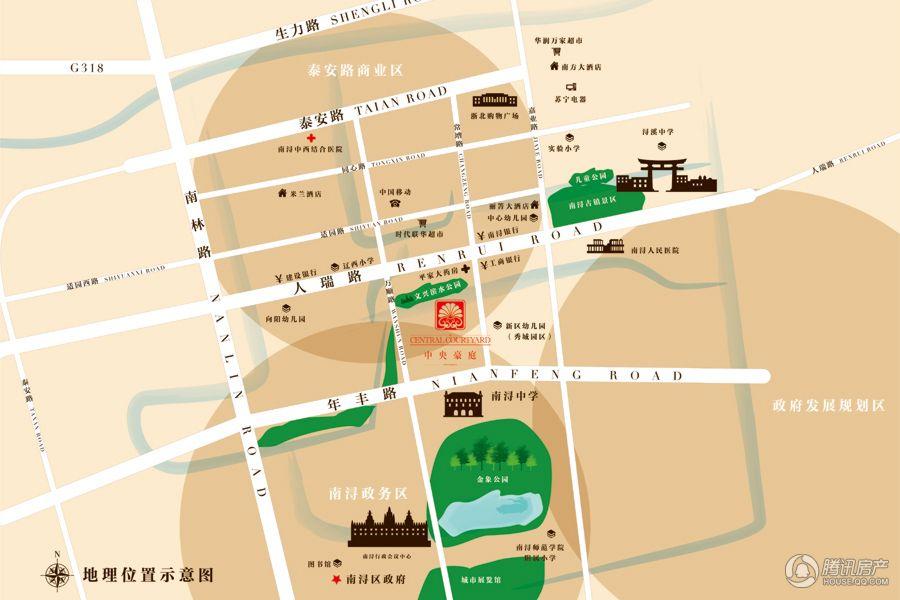 中央豪庭项目交通区位图
