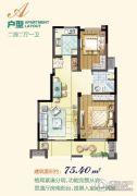 岁金时代・书香苑2室2厅1卫75平方米户型图
